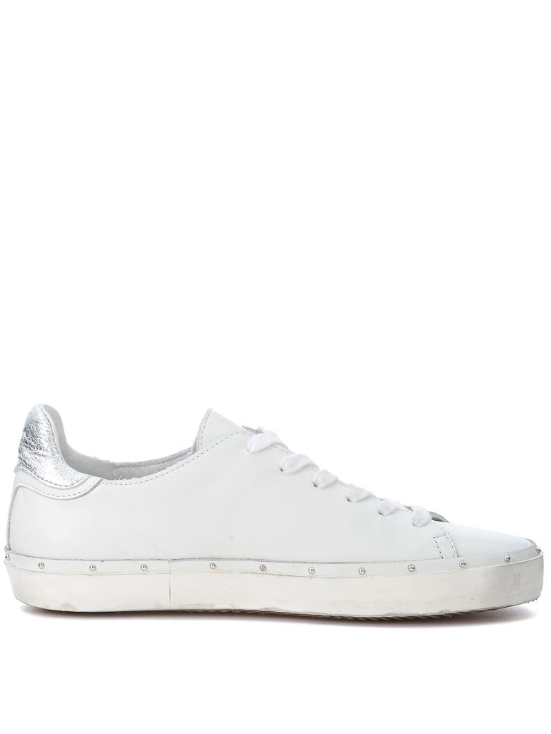 REBECCA MINKOFF MICHELL WHITE AND SILVER LEATHER SNEAKER WITH STUDS ... 88868dc7ebc