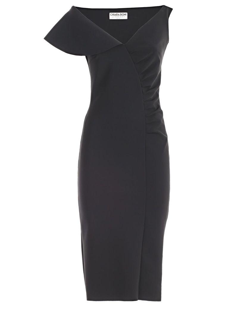 LA PETIT ROBE DI CHIARA BONI Chiara Boni La Petite Robe Asymmetric Dress in Nero