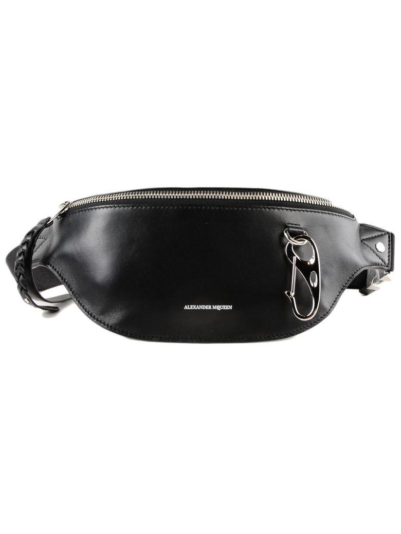 ALEXANDER MCQUEEN Logo Leather Belt Bag, Black