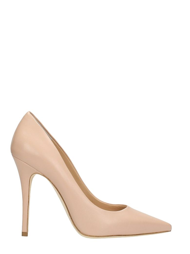 POINTED TOE NUDE LEATHER PUMPS