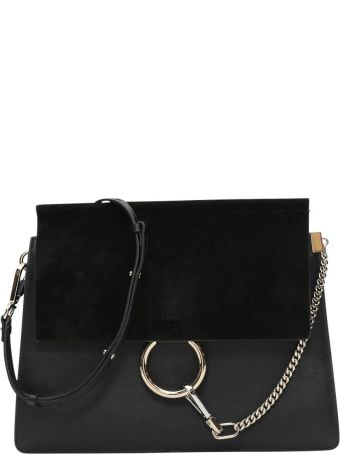 Chloé Black Leather And Suede Faye Shoulder Bag