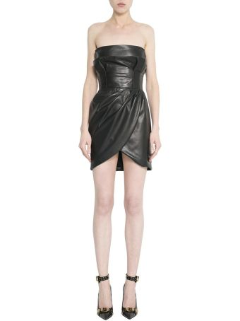 Versace Black Leather Bustier Dress
