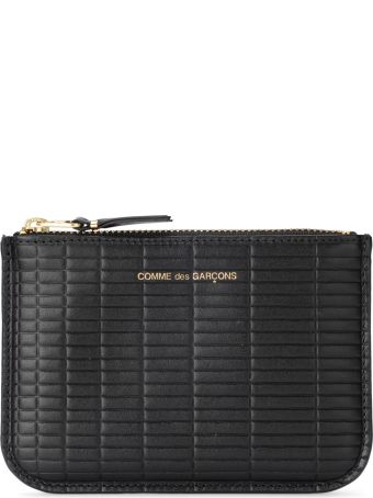 Comme des Garçons Wallet Brick Line Black Leather Purse