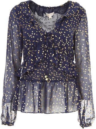 Long-sleeved Top With Gold Flowers