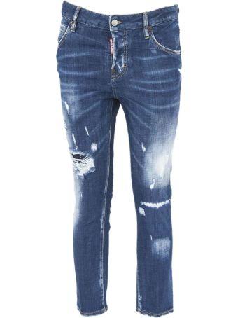 Dsquared2 Blue Cotton Cropped Jeans.