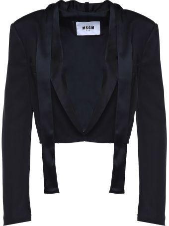 MSGM Tie-neck Satin Crop Jacket