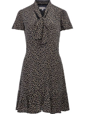 Michael Kors Black And Brown Spotted Silk Dress