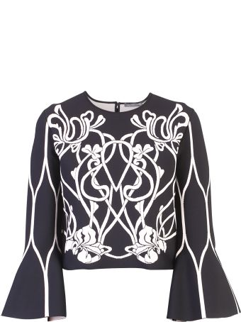 Alexander McQueen Black Floral Design Sweater