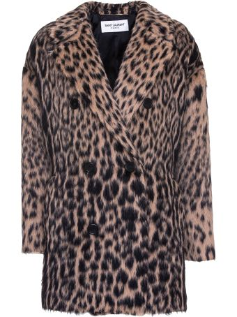 Saint Laurent Leopard Jacquard Double-breasted Coat