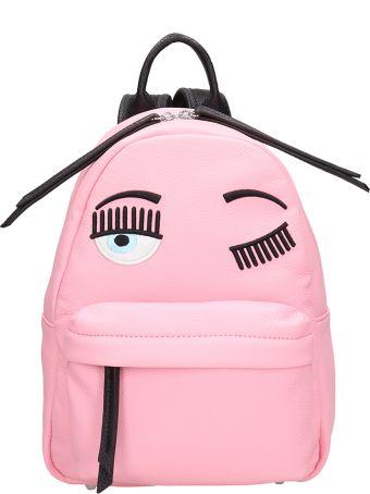 Chiara Ferragni Pink Leather Small Flirting Backpack