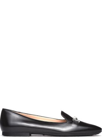 Tod's Black Slippers With Double T Detail In Calf Leather