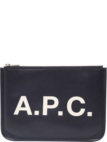 A.P.C. Morgana Logo-print Smooth-leather Clutch