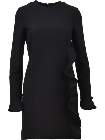 Valentino Black Frill Detail Midi Dress