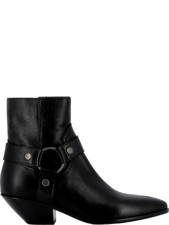 Saint Laurent Black Leather Ankle Boots