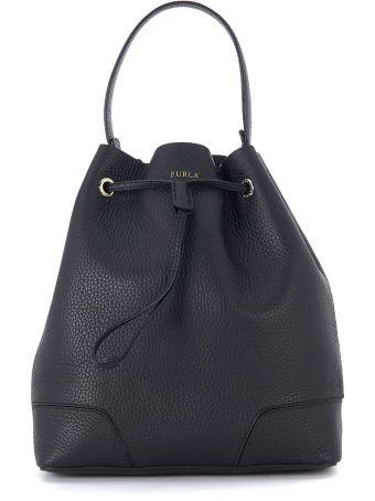 Furla Stacy S Tumbled Black Leather Bucket Bag