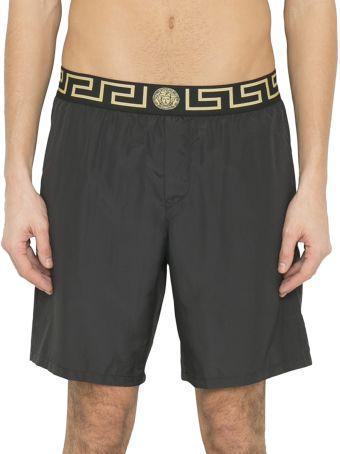 Versace Black Greek Key Medusa Swim Shorts