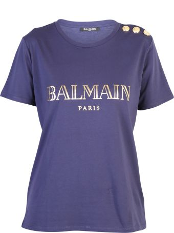 Balmain Blue Branded T-shirt