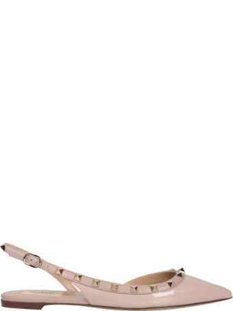 Valentino Garavani Rockstud Patent Leather Slingback Ballerina