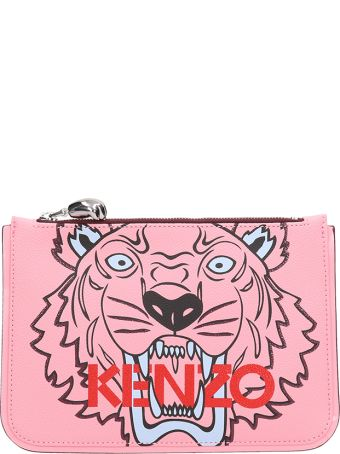 Kenzo Pink Grained Leather Clutch Bag