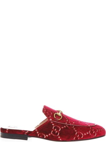 Gucci Red Veltvet Mules With Double G Motif