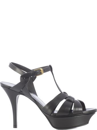 Saint Laurent Classic Tribute Open Toe, Black Leather, T-strap Buckle Ankle Closure
