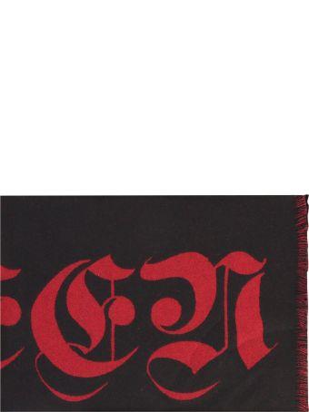 Alexander McQueen Black Intarsia Scarf