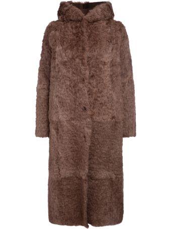 Salvatore Santoro Pale Pink Lapin Long Coat With Hood