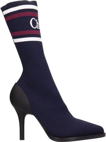 Chloé Tracy Navy Sock Knit Ankle Boots