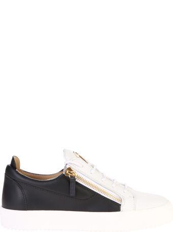 Giuseppe Zanotti White And Black Zipped Sneakers
