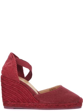 Castañer Carina Natural Jute And Cherry Red Wedge Sandal