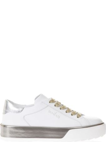Hogan White H320 Sneakers With Metallic Inserts