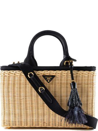 Prada Midollino+canapa Wicker Handbag