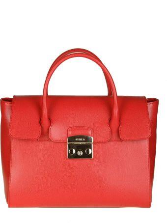 "Furla ""metropolis S"" Hand Bag In Red Leather"