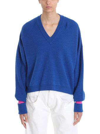 Maison Margiela Blue Wool V Neck Sweater