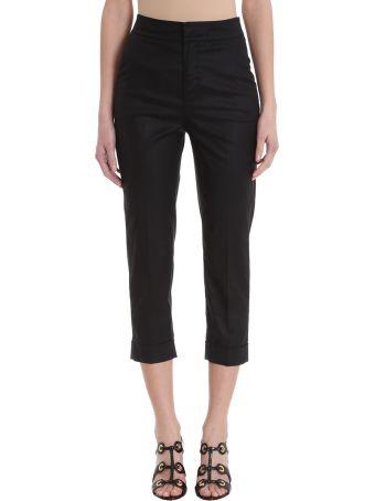 L'Autre Chose Cropped Black Cotton Trousers