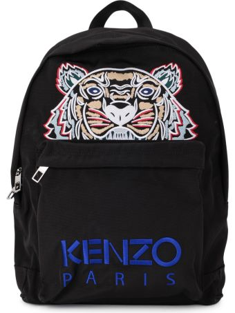 Kenzo Black Fabric Backpack With Tiger