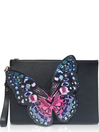 Sophia Webster Black Flossy Embroidered Butterfly Pouchette