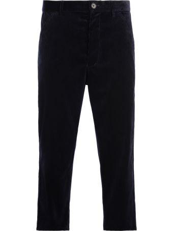 Comme des Garçons Shirt Corduroy Dark Blue Velvet Trousers