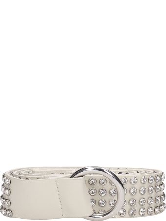 B-Low the Belt Mia Crystal White Leather Belt