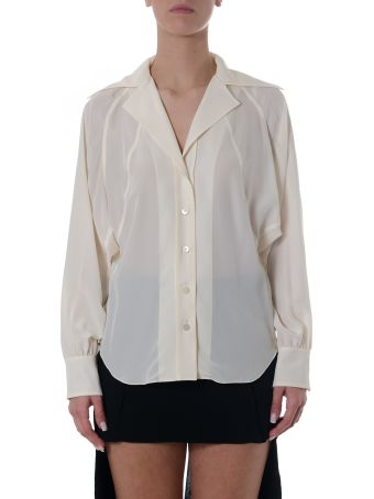 Chloé Butter Cream Silk Lapel Shirt
