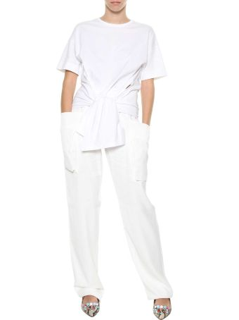 Cedric Charlier White Elasticated Waist Trousers From Cédric Charlier.