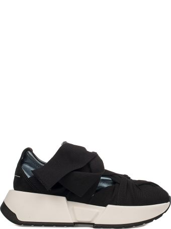 MM6 Maison Margiela Blue/black Metallic Faux Leather Slip On Wedge Sneakers