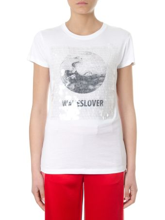 Valentino Wawesolver Sequined White Cotton T-shirt