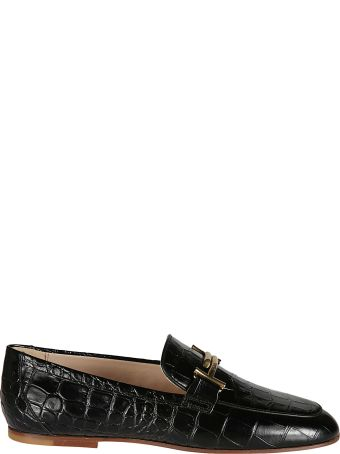 Tod's Double T Croc Print Loafers