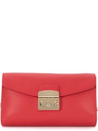 Furla Metropolis Red Leather Shoulder Pochette.