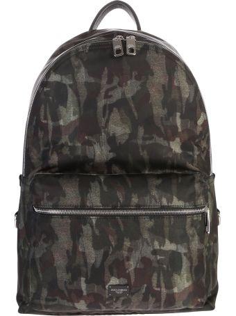 Dolce & Gabbana Green Camouflage Motif Backpack