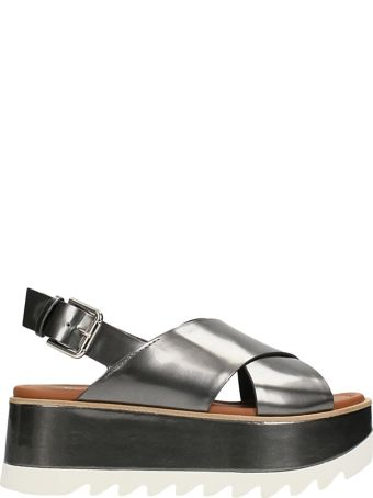 Premiata Crossed Platform Metallic Silver Sandals