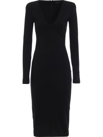 Dsquared2 Black Wool Blend Maxi Dress