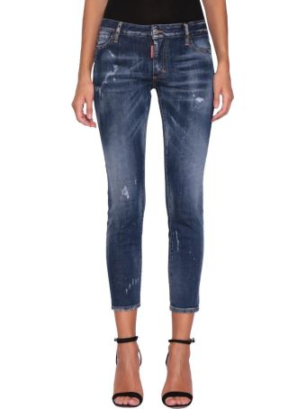 Dsquared2 Straight Cropped Cotton Denim Jeans