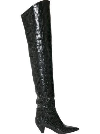 ATTICO Asia Cuissardes Croc Leather